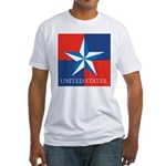 USA Star with 4 Squares Fitted T-Shirt
