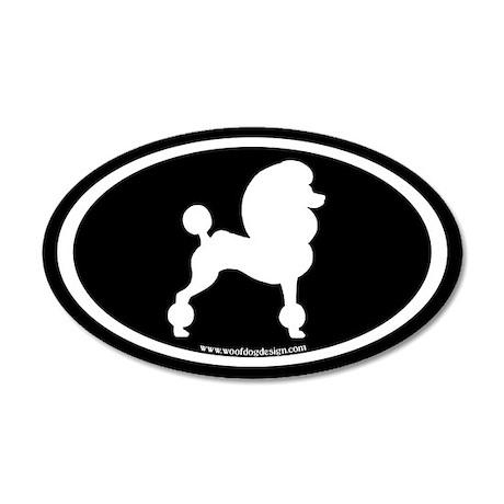 Fancy Poodle Oval (white on black) 20x12 Oval Wall