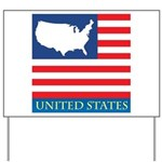 United States Map with Flag Yard Sign