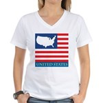 United States Map with Flag Women's V-Neck T-Shirt