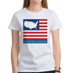 United States Map with Flag Women's T-Shirt