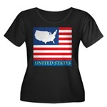 United States Map with Flag Women's Plus Size Scoo