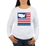 United States Map with Flag Women's Long Sleeve T-