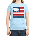 United States Map with Flag Women's Light T-Shirt