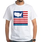 United States Map with Flag White T-Shirt