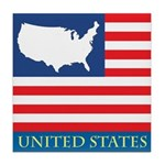 United States Map with Flag Tile Coaster