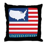 United States Map with Flag Throw Pillow