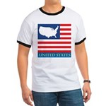 United States Map with Flag Ringer T