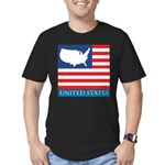 United States Map with Flag Men's Fitted T-Shirt (