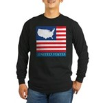 United States Map with Flag Long Sleeve Dark T-Shi