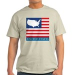 United States Map with Flag Light T-Shirt