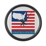 United States Map with Flag Large Wall Clock