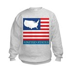 United States Map with Flag Kids Sweatshirt