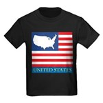 United States Map with Flag Kids Dark T-Shirt