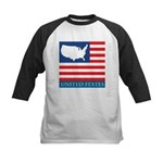 United States Map with Flag Kids Baseball Jersey