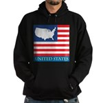 United States Map with Flag Hoodie (dark)