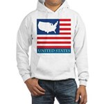 United States Map with Flag Hooded Sweatshirt