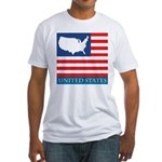 United States Map with Flag Fitted T-Shirt