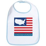 United States Map with Flag Bib