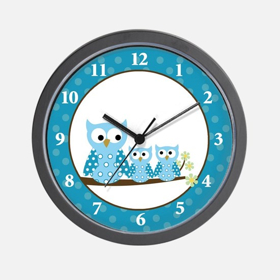 Blue Hoot Owls Wall Clock