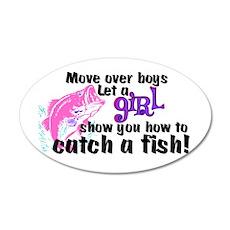 Move Over Boys - Fish 20x12 Oval Wall Peel