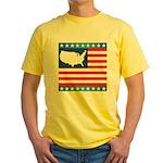 USA Map on Flag with Stars Yellow T-Shirt