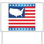 USA Map on Flag with Stars Yard Sign
