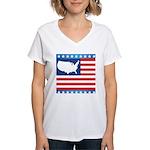 USA Map on Flag with Stars Women's V-Neck T-Shirt