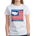 USA Map on Flag with Stars Women's T-Shirt