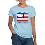 USA Map on Flag with Stars Women's Light T-Shirt
