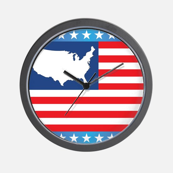 USA Map on Flag with Stars Wall Clock