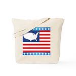 USA Map on Flag with Stars Tote Bag