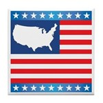 USA Map on Flag with Stars Tile Coaster
