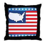 USA Map on Flag with Stars Throw Pillow