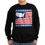 USA Map on Flag with Stars Sweatshirt (dark)