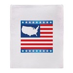 USA Map on Flag with Stars Throw Blanket