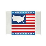 USA Map on Flag with Stars Rectangle Magnet (100 p