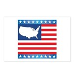 USA Map on Flag with Stars Postcards (Package of 8