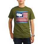 USA Map on Flag with Stars Organic Men's T-Shirt (