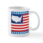 USA Map on Flag with Stars Mug