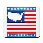 USA Map on Flag with Stars Mousepad