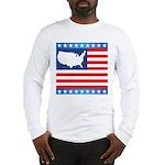 USA Map on Flag with Stars Long Sleeve T-Shirt