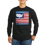 USA Map on Flag with Stars Long Sleeve Dark T-Shir