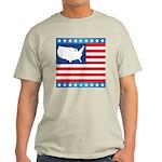 USA Map on Flag with Stars Light T-Shirt