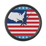 USA Map on Flag with Stars Large Wall Clock