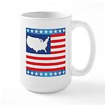 USA Map on Flag with Stars Large Mug
