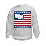 USA Map on Flag with Stars Kids Sweatshirt