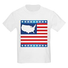 USA Map on Flag with Stars T-Shirt