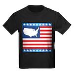 USA Map on Flag with Stars Kids Dark T-Shirt