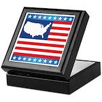 USA Map on Flag with Stars Keepsake Box